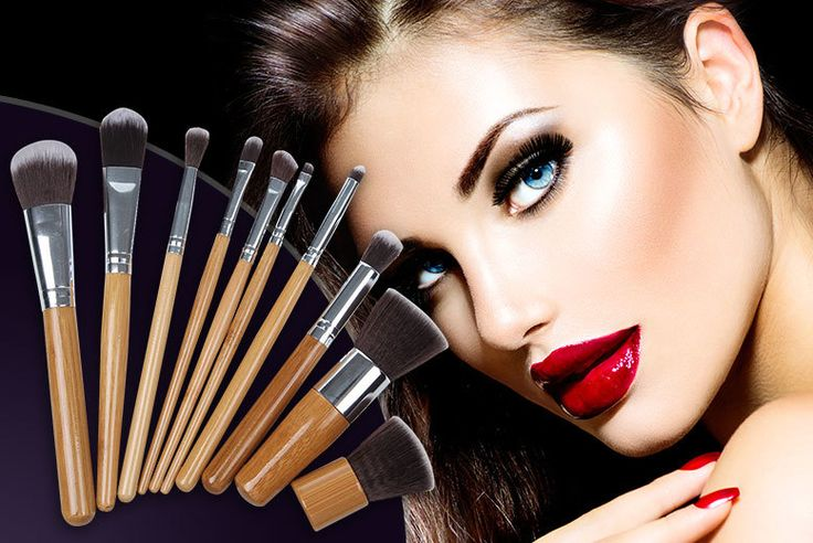 10pc Bamboo Makeup Brush Set