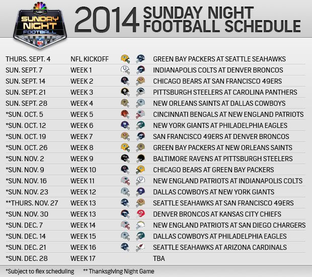 Football season is almost here! Have a look at the Sunday Night Football Schedule