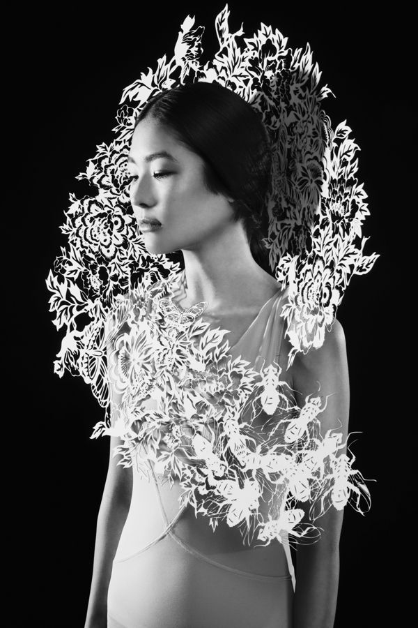 Sculptural Fashion with intricate laser cut floral pattern & 3D shape; // Kamilya Kuspan