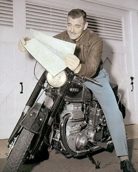 "CLARK GABLE HOLLYWOOD ACTOR MOVIE STAR MOTORCYCLE 8x10"" HAND COLOR TINTED PHOTO"
