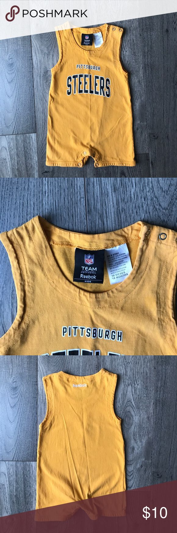 Pittsburgh Steelers Reebok Pittsburgh Steelers yellow romper, size 18 months, no stains or snags, there is a small tiny hole pictured in the last photo, in good used condition Reebok One Pieces