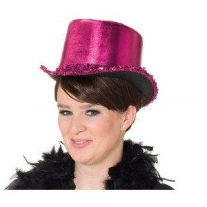 Chapeau haut de forme fuchsia femme, Chapeau style disco, cabaret, années 70-80, carnaval, soirée pink,fêtes.