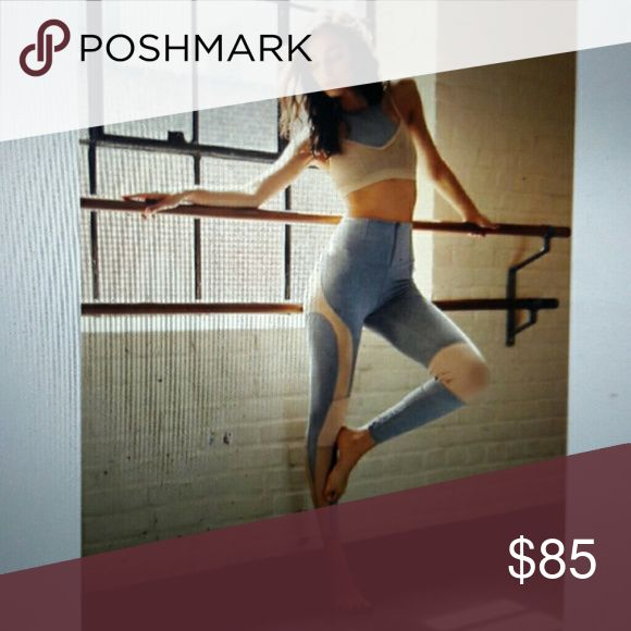 Free People Fp Movement Cool Rider Legging Medium Sheer Mesh accents these high-waisted leggings. Wide waistband had a hidden pocket and front zip closure.  Made with motion and ease in mind, these leggings are perfect for hitting the pavement or going hard at the gym. Featuring Picot Performance colorblock detailing and a front zipper closure on the waistband. Pover mesh side panels. Soft and stretch for.  88% Nylon, 12% Spandex SIZE - Medium  COLOR - Grey Combo. (Gray with Nude/Beige Mesh)…