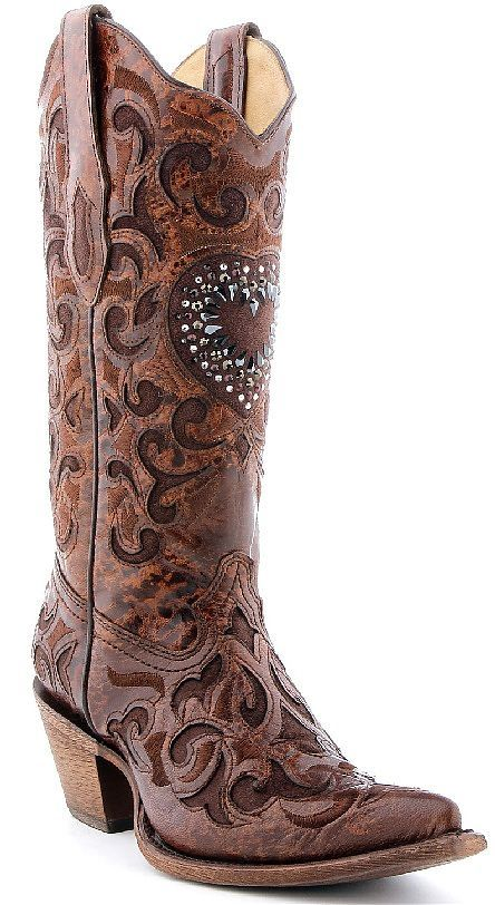 Corral Cognac & Chocolate Goat Crystal Heart Boots❤