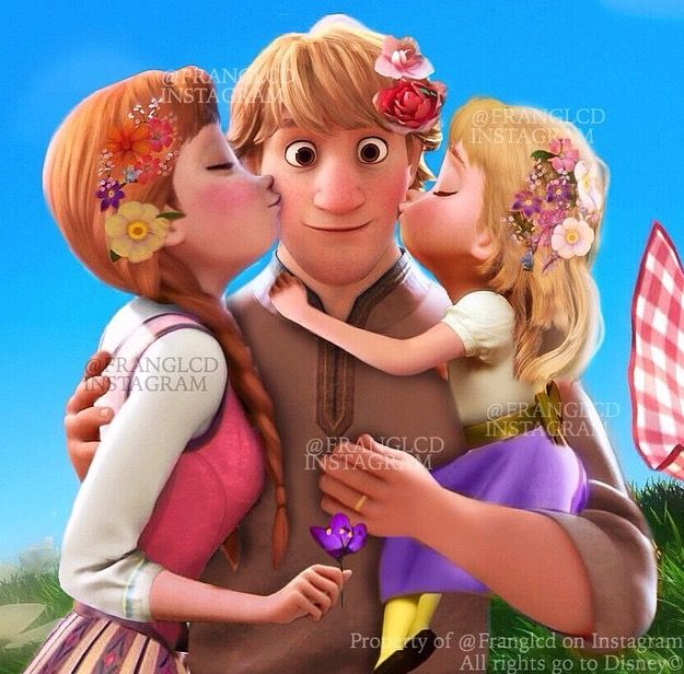 Anna, Kristoff, and their daughter. ❤️ THIS IS SOOOO CUTE!