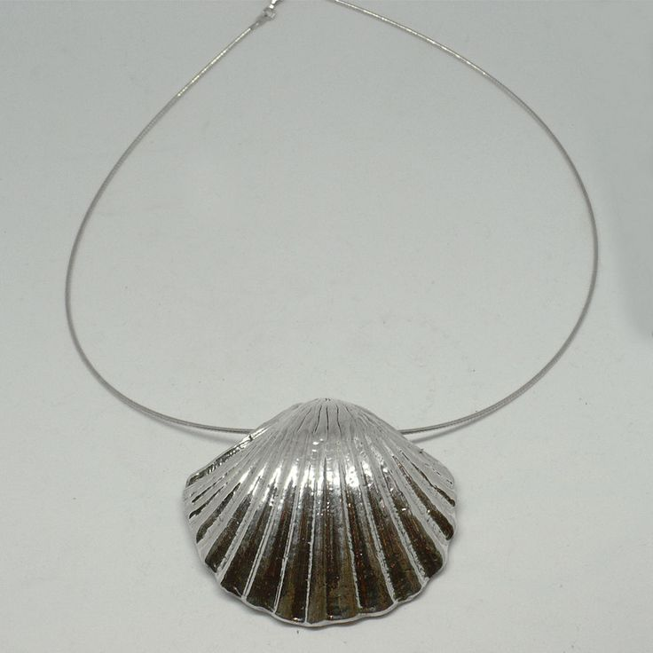 New Electroformed Silver shell style necklace 18 inch #Handmade #Pendant