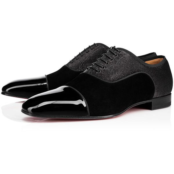 Greggo Flat  Black Cotton - Men Shoes - Christian Louboutin (949,765 KRW) ❤ liked on Polyvore featuring men's fashion, men's shoes, mens black oxford shoes, mens oxford shoes, mens black lace up shoes, christian louboutin mens shoes and mens shoes