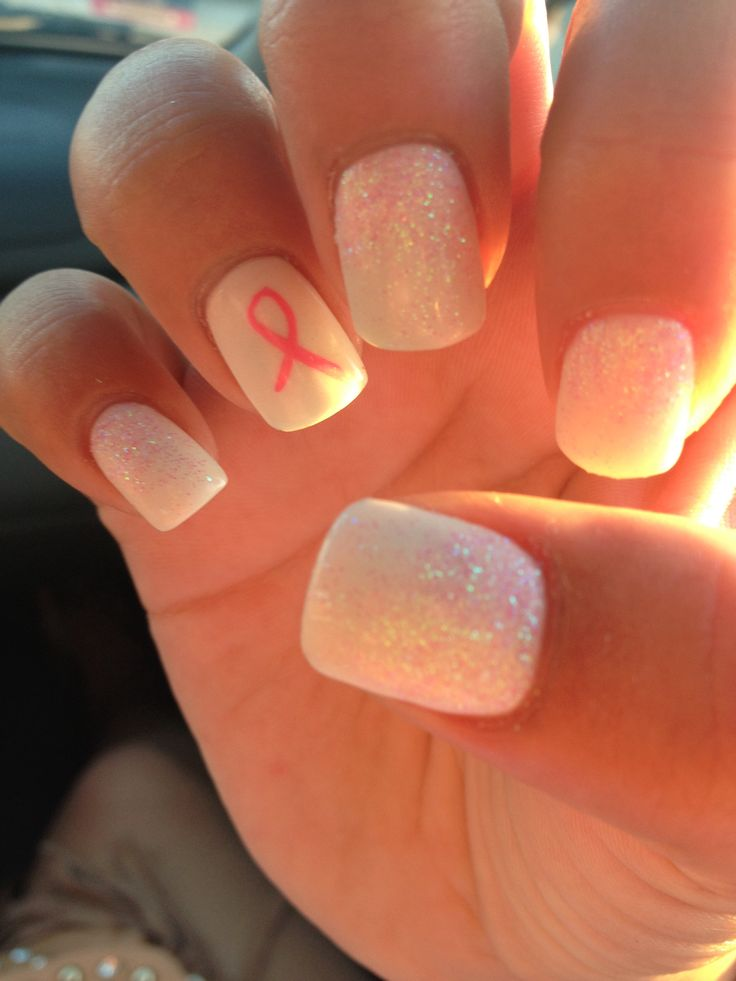 Classy, simple, breast cancer nails, glitter , white nails, pretty