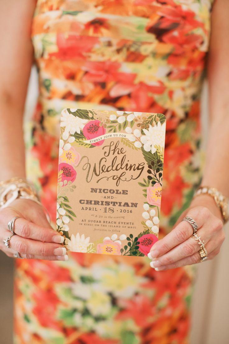 Colorful wedding invitation, bright florals, brown card stock // Anna Kim Photography