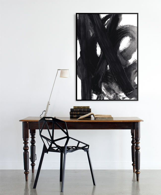 Art: Desks Chairs, Offices Design, Art, Interiors Design, Work Spaces, Workspaces, Painting, Black, Home Offices