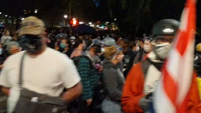 Another Huge Crowd Tonight In Portland Including A New Wall On The Front Lines A Wall Of Black Lives Matter Protest Black Lives Matter Marine Corps Veteran