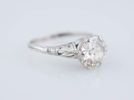 Filigree Jewelers Antique Edwardian 1.80 Old European Cut Diamond Filigree Engagement Ring in 18K White Gold