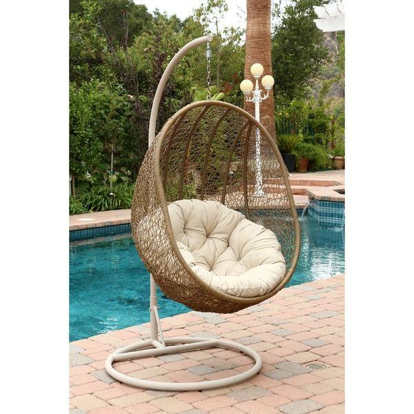 ABBYSON LIVING Hampton Swinging Egg Outdoor Wicker Chair