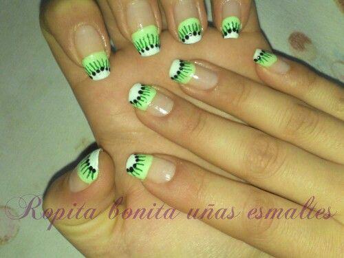 Diseño de uñas de kiwi en la francesa, hermosa y fácil nail art :)