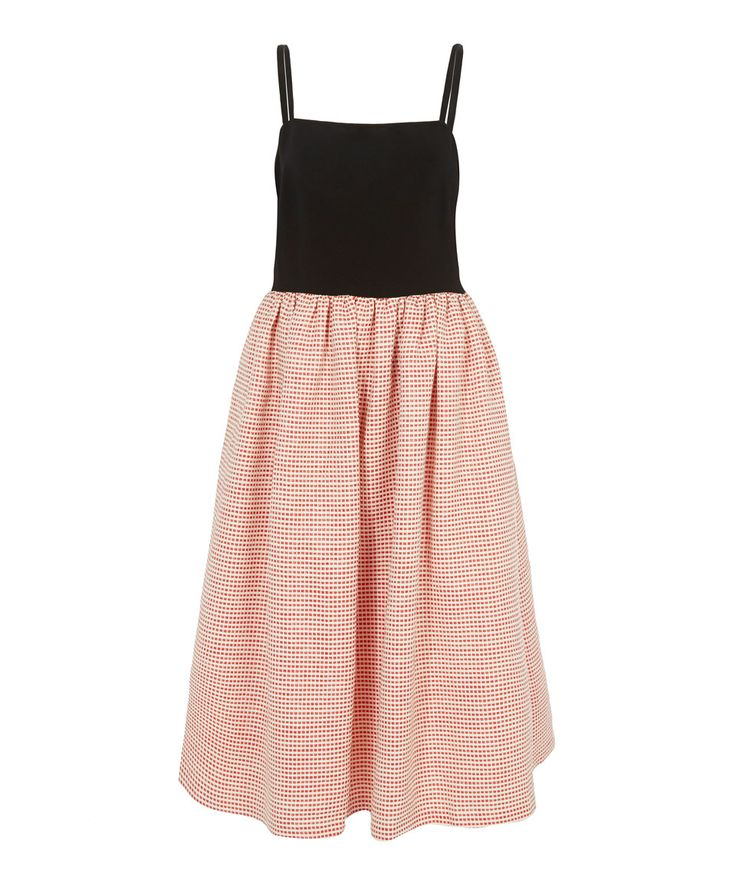 EDIT Red Gingham Printed Skirt Strappy Dress | Womenswear | Liberty.co.uk
