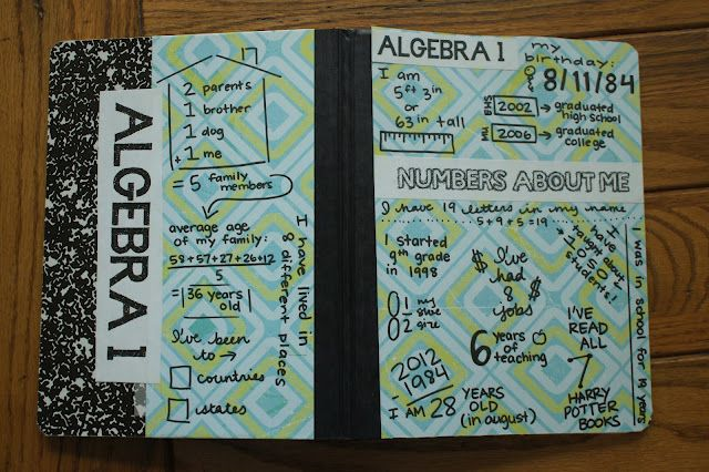 Everybody is a Genius: Math about me:  decorate the interactive notebooks w/numbers about the student - have students do before class starts?!