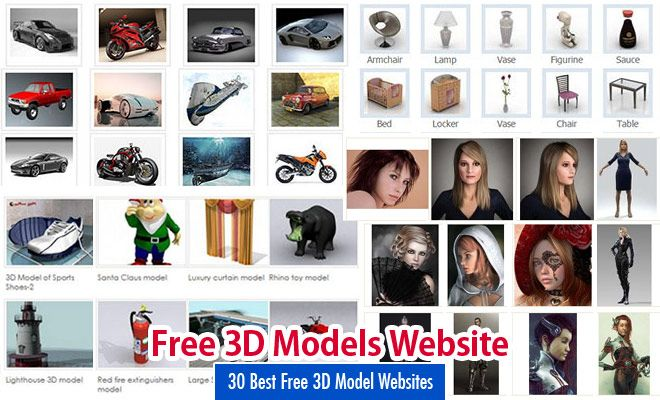 30 Best Free 3D Model Websites around the web- Free 3D Download Sites. Read full article: http://webneel.com/free-3d-models-websites | more http://webneel.com/3d-characters | Follow us www.pinterest.com/webneel