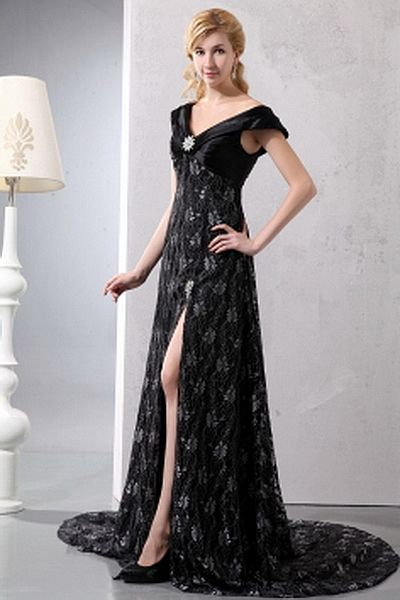 Romantic Off Shoulder A-Line Mother Of Bride Dress wr1193 - http://www.weddingrobe.co.uk/romantic-off-shoulder-a-line-mother-of-bride-dress-wr1193.html - NECKLINE: Off Shoulder. FABRIC: Lace. SLEEVE: Sleeveless. COLOR: Black. SILHOUETTE: A-Line. - 124.59