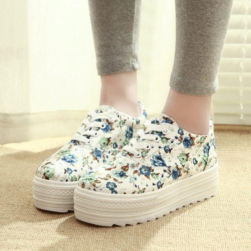 Цветочные парусиновые туфли 2014 весной новые женские корейский приливные обувь на подошве платформы обувь повседневная обувь, чтобы помочь ...