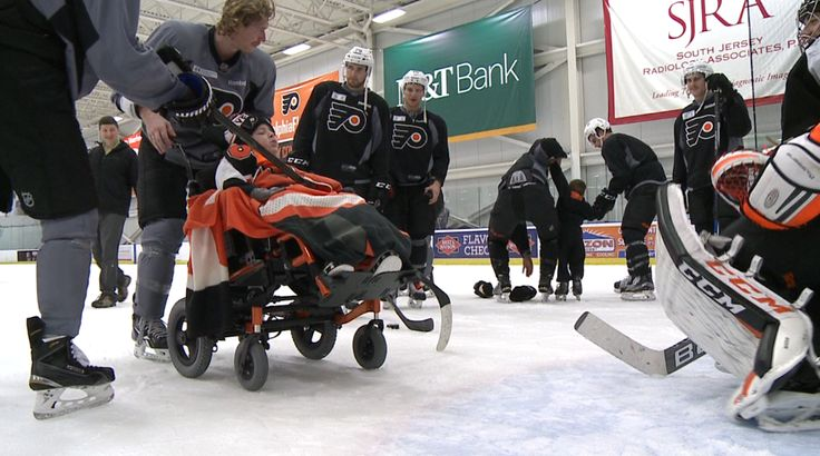 Eight-year-old Liam Idzi watched closely as his favorite hockey team took the ice yesterday. The Wisconsin native is battling severe cerebral palsy and a seizure disorder, but yesterday he suited up for the orange and black thanks to Make A Wish Foundation and the Philadelphia Flyers. After practice, Liam and his three brothers took to the ice and played with his favorite player Jakub Voracek and the rest of the Flyers team.