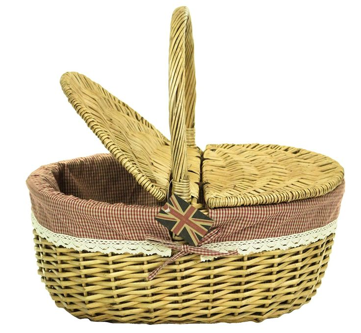east2eden honey wicker wicker picnic hamper shopping storage basket with red gingham u0026 lace liner