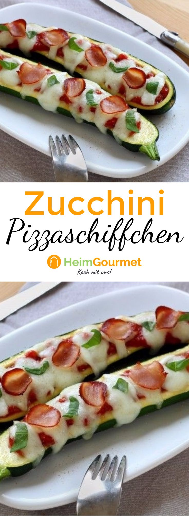 Wir lieben diese gefüllten Zucchini-Schiffchen mit Pizzageschmack.