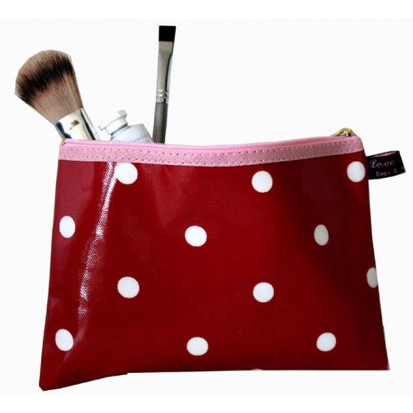Red Spotty Cosmetics Bag. Oilcloth make-up bag, fully lined with a wipe clean fabric. Made in Devon, UK http://www.madecloser.co.uk/clothes-accessories/bags-accessories/Oilcloth-Spotty-Cosmetic-Bag