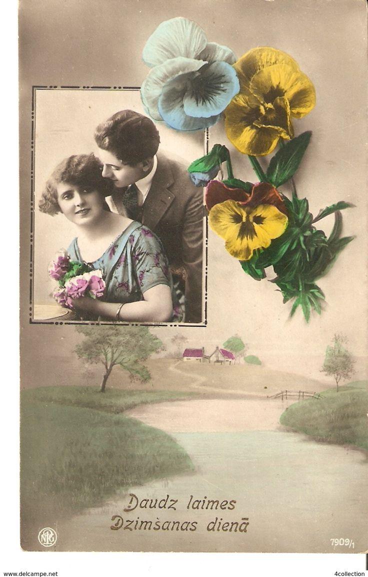 Old Latvia Birthday photo postcard - Couple Man & Woman Flowers Pansies Pansy