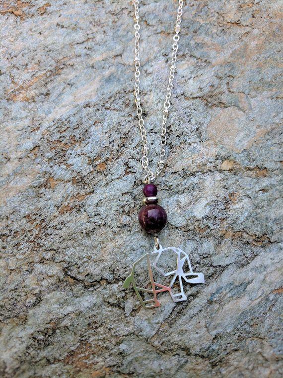 Necklace. Silver Necklace. Elephant Necklace. Tourmaline Stone