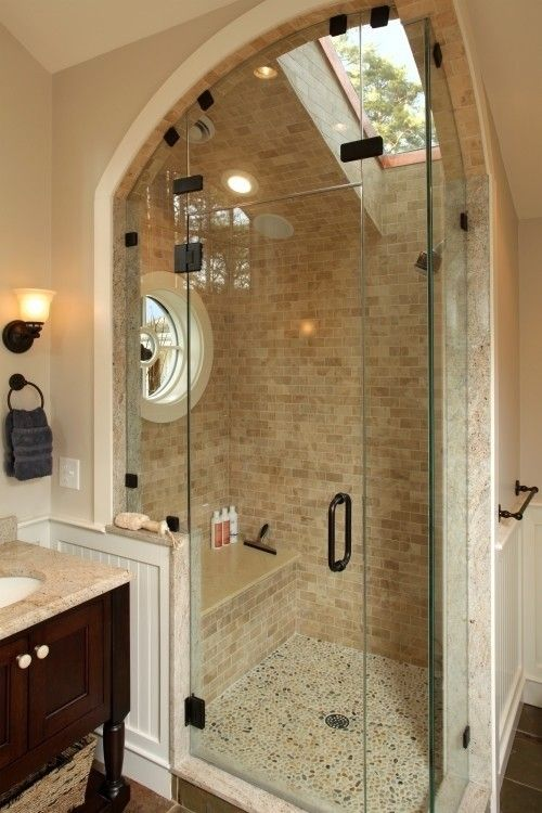 This shower's got some great curves! Bathroom Design Ideas We Love at Design Connection, Inc. | Kansas City Interior Design http://www.DesignConnectionInc.com/Blog #InteriorDesign