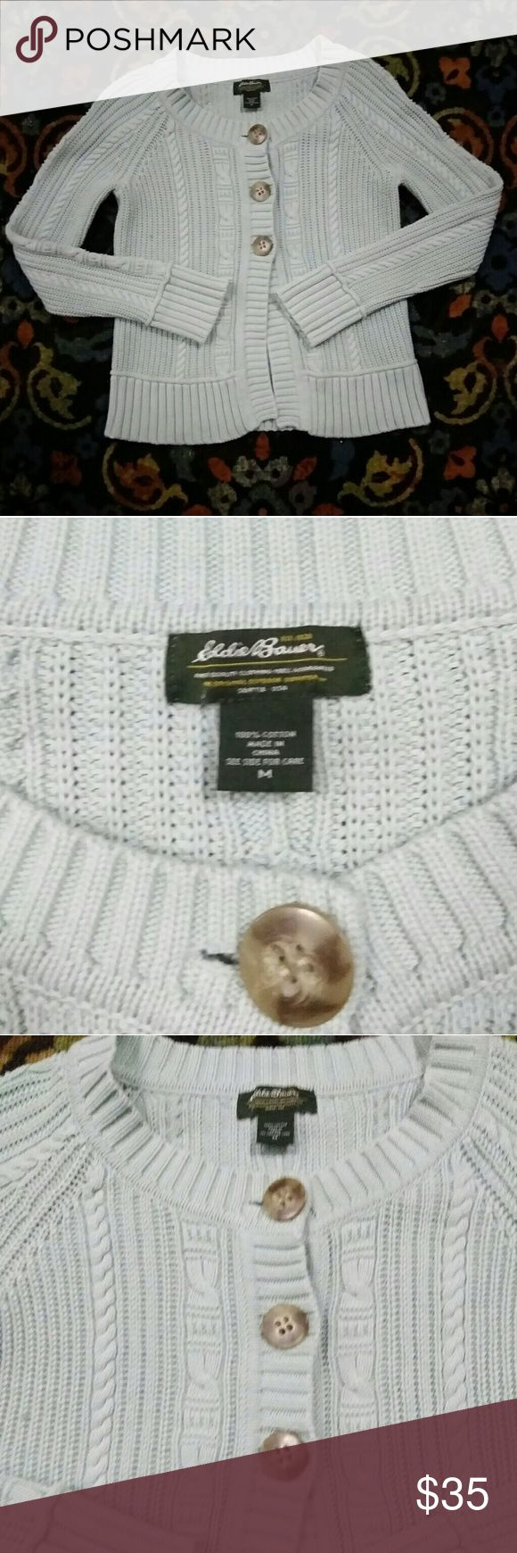Eddie Bauer Cardigan- M- Perfect condition Pretty cardigan,  is very light color,  maybe a very light blue/green. Perfect for pastel color lovers. Perfect condition,  size Medium.  Three button design. Beautiful knit design. Eddie Bauer Sweaters Cardigans