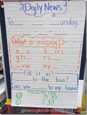 Daily News instead of Morning Message. This one is K-1, but it could be adapted for older students.