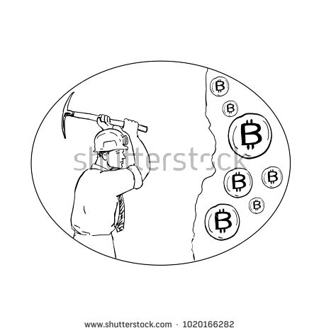 Drawing sketch style illustration of bitcoin miner mining hacking with pickaxe digging for Cryptocurrency set inside oval on isolated background.  #miner #sketch #illustration