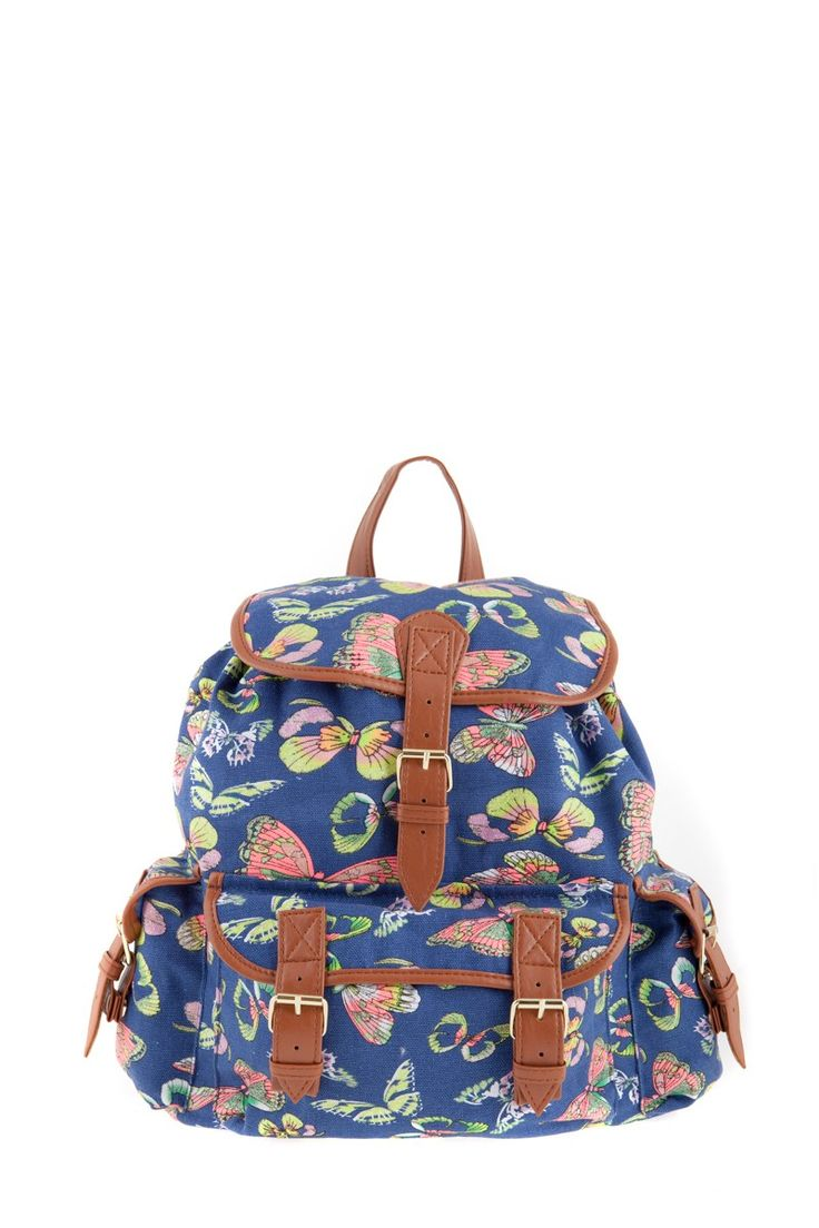 1534106836, NAVY, Butterfly print backpack ,Butterfly print σακίδιο