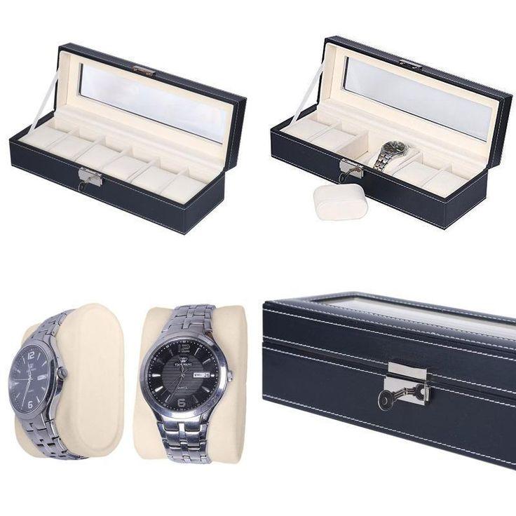 Faux Leather Watch Display Case Jewelry Storage Box Glass Top Organizer Holder