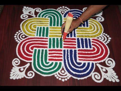 very Simple Dotted padi kolam 5-5 dots - easy friday rangoli design - geethala muggulu - YouTube