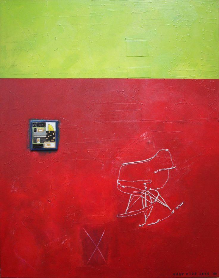 """""""Dno kosmosu"""" akryl,ceramika,nić na płótnie 80 x 100 cm by Wide Lake"""
