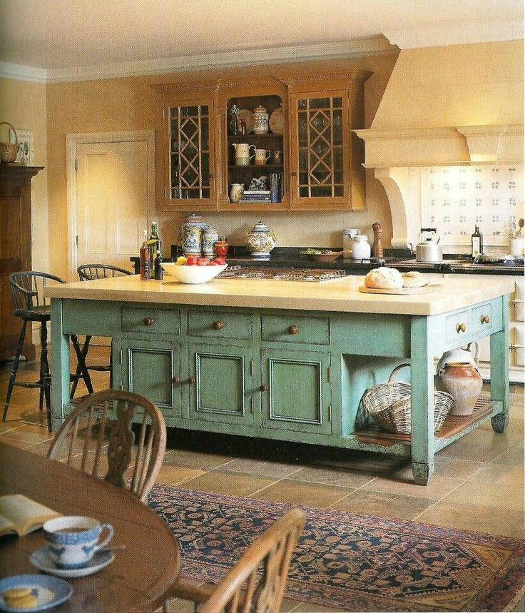 A Real Country Feel To This Kitchen With Rustic Style Island And Floor Country