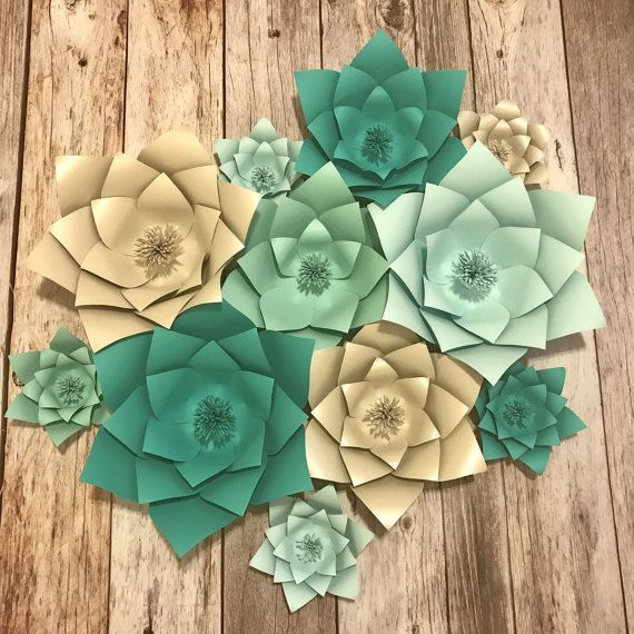 Kit Tiffany Blue Ombre Paper Flowers 3d Flowers Paper