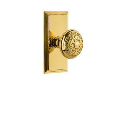 Grandeur Windsor Door Knob with Carre Plate Knob Function: Passage, Finish: Lifetime Brass, Backset: 2.38