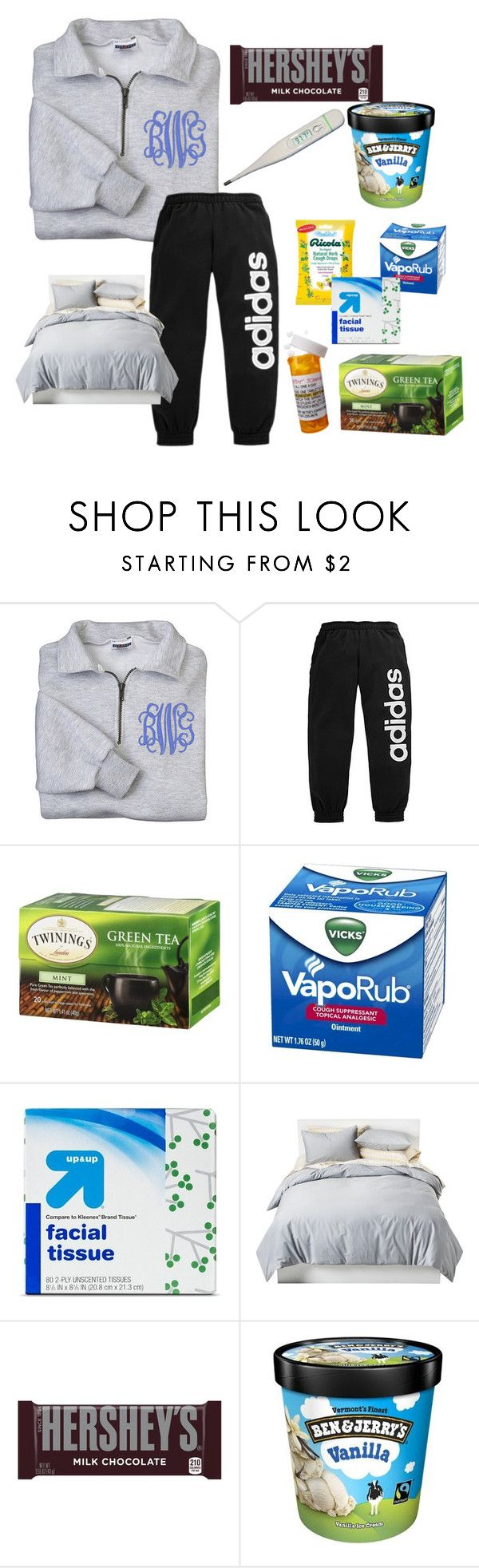 """""""I'm so stinking sick"""" by emidunham ❤ liked on Polyvore featuring adidas, Up & Up, Betsey Johnson, Room Essentials and Hershey's"""