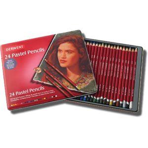 Sanatsal Boyalar :: Pastel Boyalar :: Pastel Boya Setleri :: Derwent Pastel Pencil 24'lü Teneke Kutu Pastel Kalem Seti