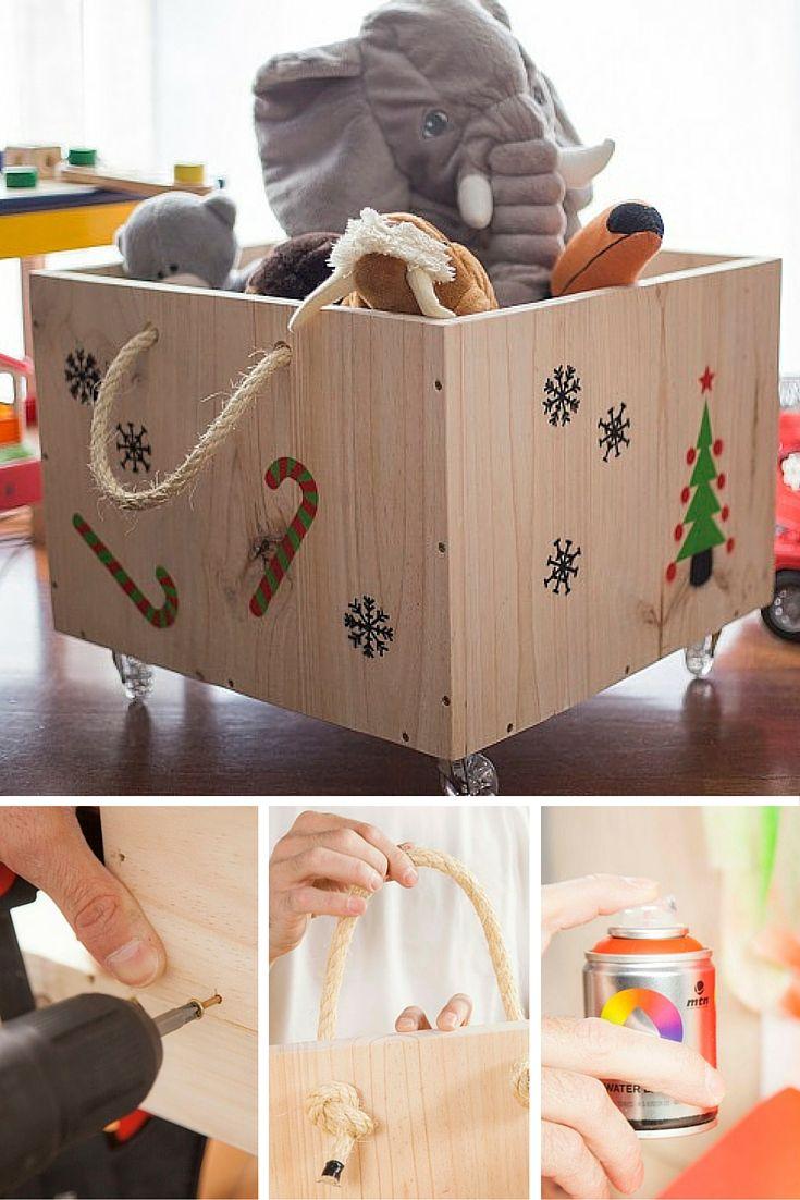 Monta una divertida caja con ruedas y decórala con divertidas plantillas y spray. Ideal para tener en orden todos los juguetes.