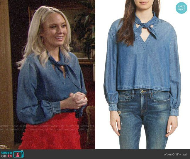 94b685cac9885a Abby s denim tie neck top and red textured skirt on The Young and the  Restless.