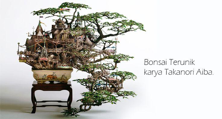 Bonsai Terunik, sebuah perpaduan seni arsitekstur yang diaplikasikan kedalam sebuah bentuk bonsai menjadi luar biasa seniman asal jepang Takanori Aiba yang telah berhasil meniciptakan sebuah bentuk baru karya seni yang berasal dari imajinasi dan fantasi