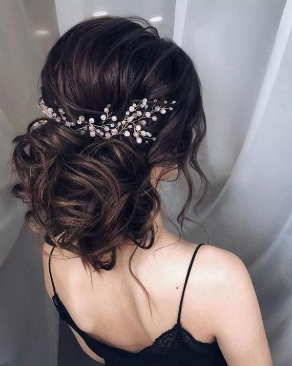 Wedding hair vine extra long crystal and pearl hair piece flower headpiece bridal jewelry crystal wr