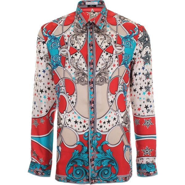 Versace Collection Stars and Baroque Long Sleeve Silk Shirt ($655) ❤ liked on Polyvore featuring men's fashion, men's clothing, men's shirts, men's casual shirts, mens slim fit casual shirts, mens long sleeve shirts, mens slim shirts, mens silk shirt and mens longsleeve shirts