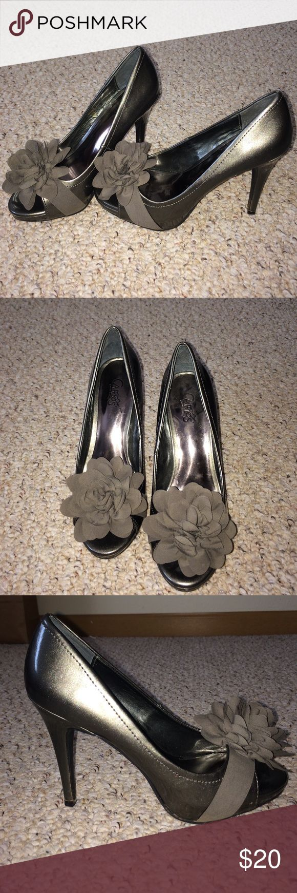 Pewter Grey Heels These super fun heels can be matched with any skinny Jean. They are very comfortable and have a grip on the bottom as well. Carlos Santana Shoes Heels