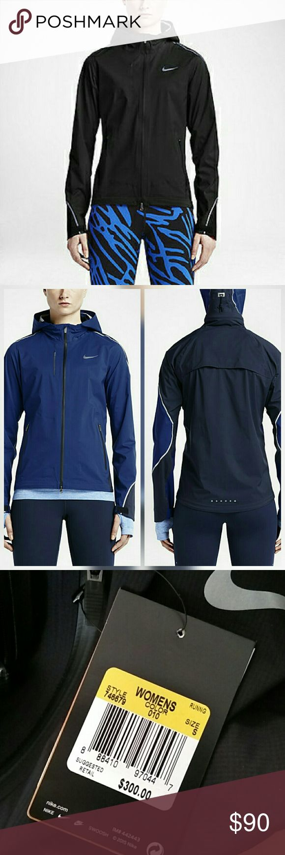 Nike Hyper Shield Running Jacket New with tags. Perfect condition. No trades  BLACK. Pictures in blue to ship fit/detail  Waterproof Nike Jackets & Coats