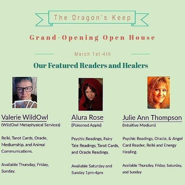 Tomorrow Alura Rose and Julie Ann Thompson Intuitive Medium will be our amazing readers and healers tomorrow. We have warm tea good energy and many cool items for sale.  Come on down. Hopefully the weather gods will give us amazing weather for tomorrow.